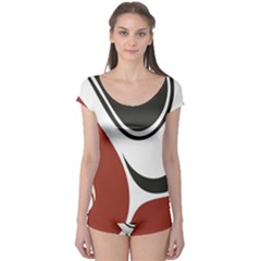 Red Black Boyleg Leotard
