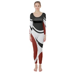 Red Black Long Sleeve Catsuit