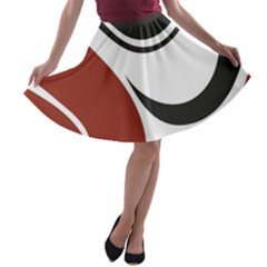 Red Black A-line Skater Skirt