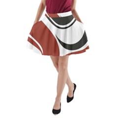Red Black A-Line Pocket Skirt