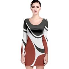 Red Black Long Sleeve Velvet Bodycon Dress