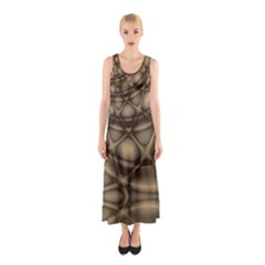 Rocks Metal Fractal Pattern Sleeveless Maxi Dress