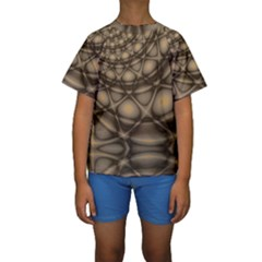 Rocks Metal Fractal Pattern Kids  Short Sleeve Swimwear