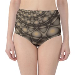 Rocks Metal Fractal Pattern High-Waist Bikini Bottoms