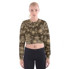 Rocks Metal Fractal Pattern Women s Cropped Sweatshirt