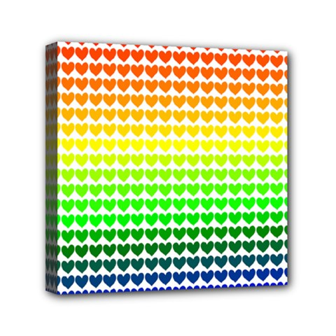 Rainbow Love Heart Valentine Orange Yellow Green Blue Mini Canvas 6  x 6