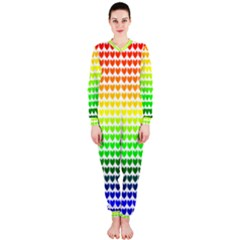 Rainbow Love Heart Valentine Orange Yellow Green Blue OnePiece Jumpsuit (Ladies)