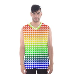Rainbow Love Heart Valentine Orange Yellow Green Blue Men s Basketball Tank Top