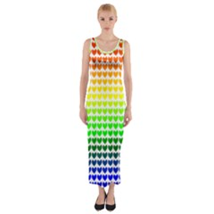 Rainbow Love Heart Valentine Orange Yellow Green Blue Fitted Maxi Dress
