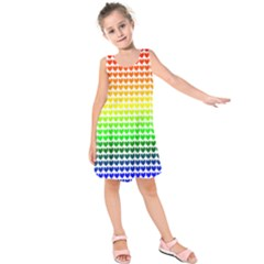 Rainbow Love Heart Valentine Orange Yellow Green Blue Kids  Sleeveless Dress