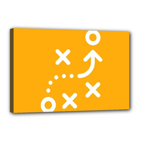 Sign Yellow Strategic Simplicity Round Times Canvas 18  x 12