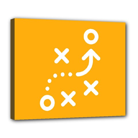 Sign Yellow Strategic Simplicity Round Times Deluxe Canvas 24  x 20
