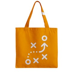 Sign Yellow Strategic Simplicity Round Times Zipper Grocery Tote Bag