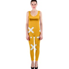 Sign Yellow Strategic Simplicity Round Times OnePiece Catsuit