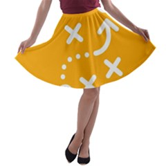 Sign Yellow Strategic Simplicity Round Times A-line Skater Skirt