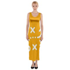 Sign Yellow Strategic Simplicity Round Times Fitted Maxi Dress