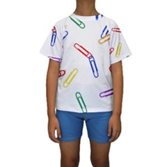 Scattered Colorful Paper Clips Kids  Short Sleeve Swimwear