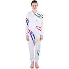 Scattered Colorful Paper Clips Hooded Jumpsuit (Ladies)