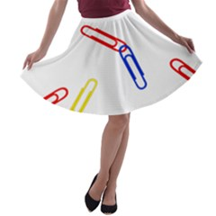 Scattered Colorful Paper Clips A-line Skater Skirt