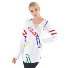 Scattered Colorful Paper Clips Women s Tie Up Tee