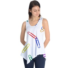Scattered Colorful Paper Clips Sleeveless Tunic
