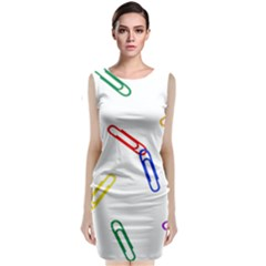 Scattered Colorful Paper Clips Classic Sleeveless Midi Dress
