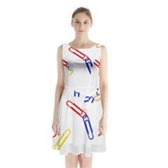 Scattered Colorful Paper Clips Sleeveless Chiffon Waist Tie Dress
