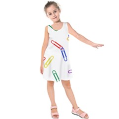 Scattered Colorful Paper Clips Kids  Sleeveless Dress