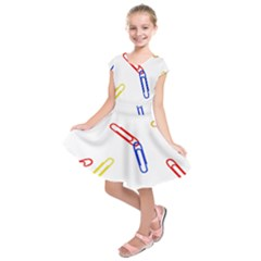 Scattered Colorful Paper Clips Kids  Short Sleeve Dress