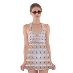 Pattern Retro Background Texture Halter Swimsuit Dress