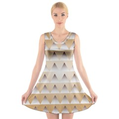 Pattern Retro Background Texture V Neck Sleeveless Skater Dress
