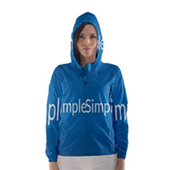 Simple Feature Blue Hooded Wind Breaker (Women)