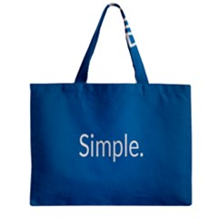 Simple Feature Blue Zipper Mini Tote Bag