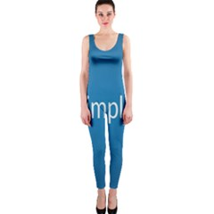 Simple Feature Blue OnePiece Catsuit