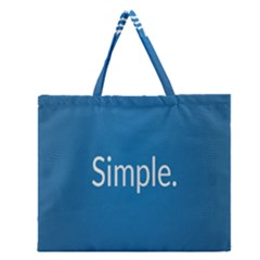 Simple Feature Blue Zipper Large Tote Bag