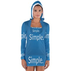 Simple Feature Blue Women s Long Sleeve Hooded T-shirt