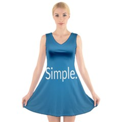 Simple Feature Blue V-Neck Sleeveless Skater Dress
