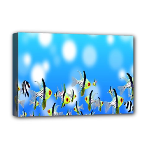 Pisces Underwater World Fairy Tale Deluxe Canvas 18  x 12