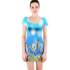 Pisces Underwater World Fairy Tale Short Sleeve Bodycon Dress