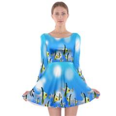 Pisces Underwater World Fairy Tale Long Sleeve Skater Dress