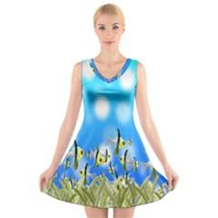 Pisces Underwater World Fairy Tale V Neck Sleeveless Skater Dress