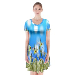 Pisces Underwater World Fairy Tale Short Sleeve V-neck Flare Dress