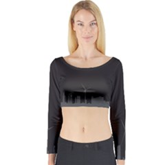 Windmild City Building Grey Long Sleeve Crop Top