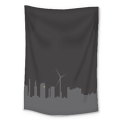 Windmild City Building Grey Large Tapestry