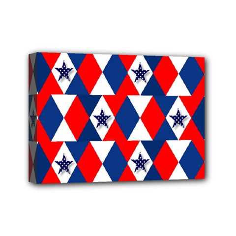 Patriotic Red White Blue 3d Stars Mini Canvas 7  x 5