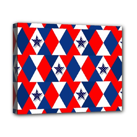Patriotic Red White Blue 3d Stars Canvas 10  x 8