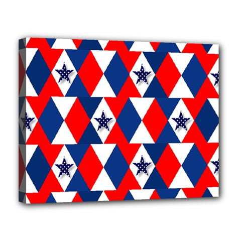 Patriotic Red White Blue 3d Stars Canvas 14  X 11