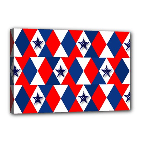 Patriotic Red White Blue 3d Stars Canvas 18  x 12