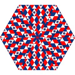 Patriotic Red White Blue 3d Stars Mini Folding Umbrellas