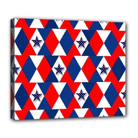 Patriotic Red White Blue 3d Stars Deluxe Canvas 24  x 20